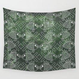 Indonesian Batik Green Fish Pattern Wall Tapestry
