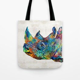 Rhino Rhinoceros Art - Looking Up - By Sharon Cummings Tote Bag