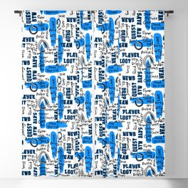 Gamer Lingo-White and Blue Blackout Curtain
