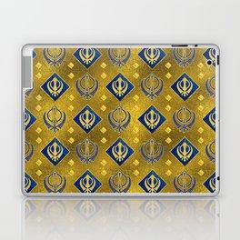 Gold and Lapis Lazuli Khanda symbol pattern Laptop & iPad Skin