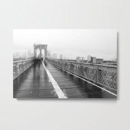 Brooklyn Bridge and Rain Metal Print