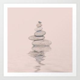 Balanced Harmony Zen Pebble soft pink Art Print