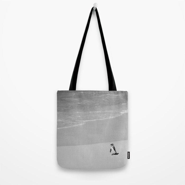 Lone African Penguin walking on beach Tote Bag