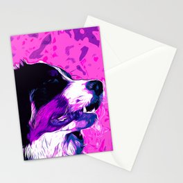 bernese mountain dog vector art purple pink Stationery Cards