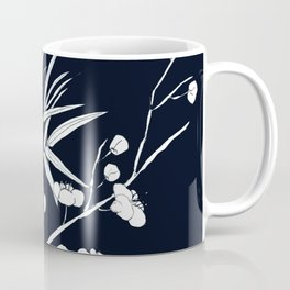 bamboo and plum flower white on black Coffee Mug