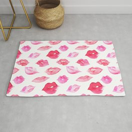 Watercolor pink lips pattern Rug