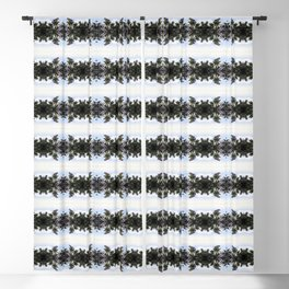 White crowned sparrow, blue blossom Ceanothus Thyrsiflorus bush pattern Blackout Curtain