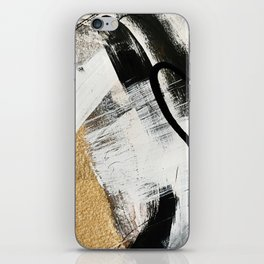Armor [9]: a minimal abstract piece in black white and gold by Alyssa Hamilton Art iPhone Skin