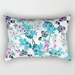 Turquoise Lavender Floral Rectangular Pillow