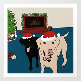Labs Love Christmas! Art Print