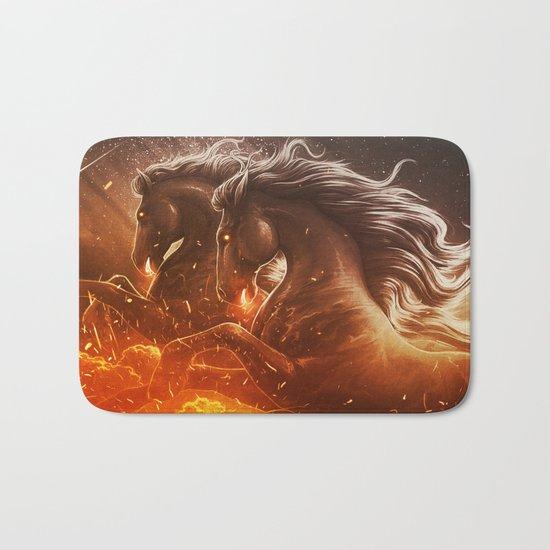 Fire with Horses Bath Mat