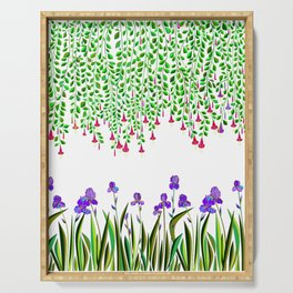 A Colorful Garden of Iris and Trumpets, Hanging Garden Serving Tray