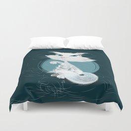 Catarday Night - white cat Duvet Cover