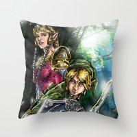 the legend of zelda Throw Pillows featuring The Legend of Zelda by MarioRojas