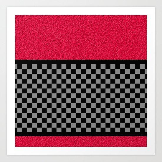 Checkered/Textured Red Art Print