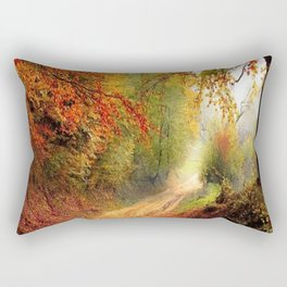Road Covered In Autumn Trees  Rectangular Pillow
