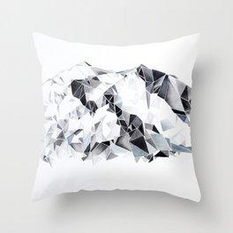 Denali  Mountain Watercolor Throw Pillow