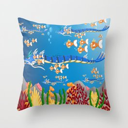 Serpent in the sea Throw Pillow