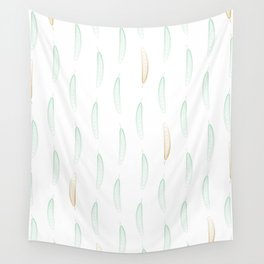 Feathers - Green & Gold #442 Wall Tapestry
