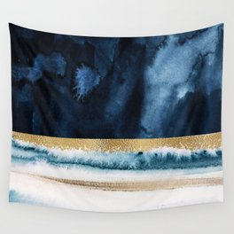 Navy Blue, Gold And White Abstract Watercolor Art Wall Tapestry