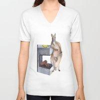 kangaroo V-neck T-shirts featuring Kangaroo by Big AL