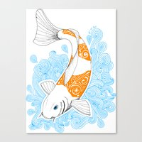 koi fish Canvas Prints featuring Koi fish  by Art & Be
