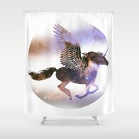 runner Shower Curtains featuring Galaxy Runner by elfengamez