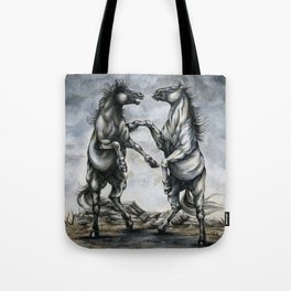 Fighting Horses Tote Bag