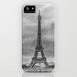 PARIS Eiffel Tower Thunderstorm iPhone Case