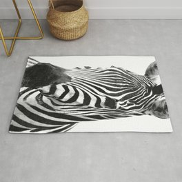 Black and white zebra illustration Rug