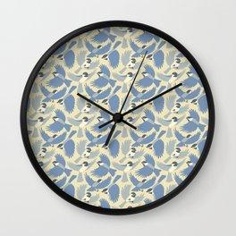 Chickadees  in Blue Wall Clock