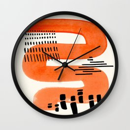 Mid Century Modern abstract Minimalist Fun Colorful Shapes Patterns Orange Watercolor Wiggle Stroke Wall Clock