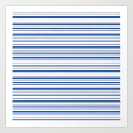 White Blue Candy Lines Art Print