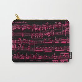 Beethoven piano Sonata No.7 sheet music, neon pink on black. Carry-All Pouch