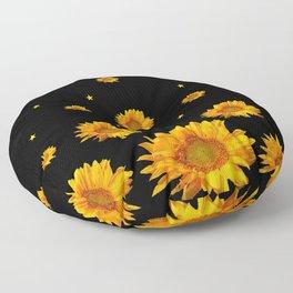 GOLDEN STARS YELLOW SUNFLOWERS  BLACK COLOR Floor Pillow