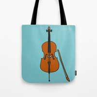 cello Tote Bags featuring Cello by Illustrated by Jenny