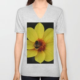 Dahlia  with Bumble Bee Unisex V-Neck