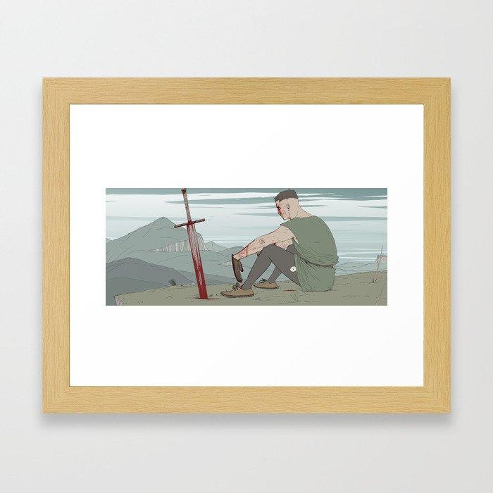 Medieval taxi driver Framed Art Print