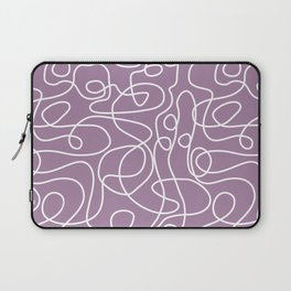 Doodle Line Art | White Lines on Soft Purple Laptop Sleeve