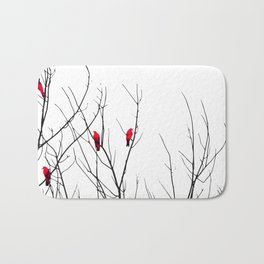 Artistic Bright Red Birds on Tree Branches Bath Mat