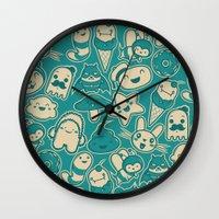 kawaii Wall Clocks featuring Kawaii by Hoborobo