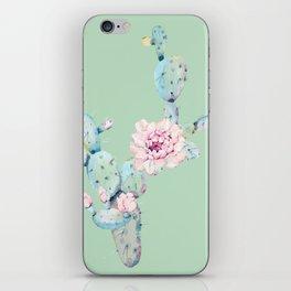 Rose Desert Cactus Mint Green + Pink iPhone Skin