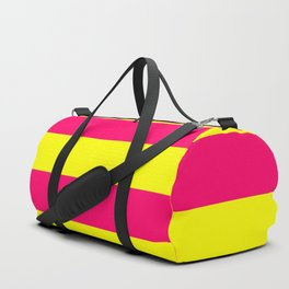 Bright Neon Pink and Yellow Horizontal Cabana Tent Stripes Duffle Bag
