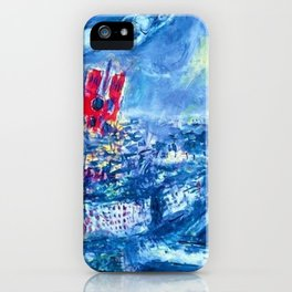 View of Paris by Marc Chagall iPhone Case