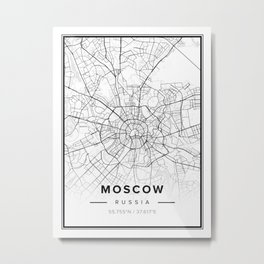 Moscow Modern Map Metal Print