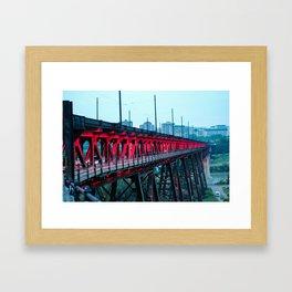 High Level Bridge Lights Framed Art Print