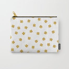 Golden Shamrocks White Background Carry-All Pouch