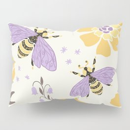 Honey Bees and Flowers - Yellow and Lavender Purple Pillow Sham