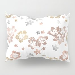 Rose Gold Copper Bronze Tropical Flowers Multi Metallic Pillow Sham