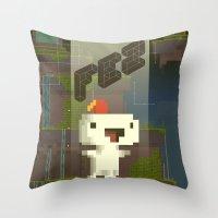 fez Throw Pillows featuring FEZ: Gomez by Retro Zombie